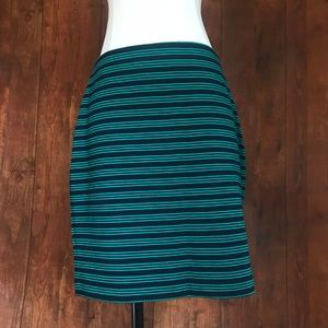 Gap Navy and Green Striped Body Con Skirt